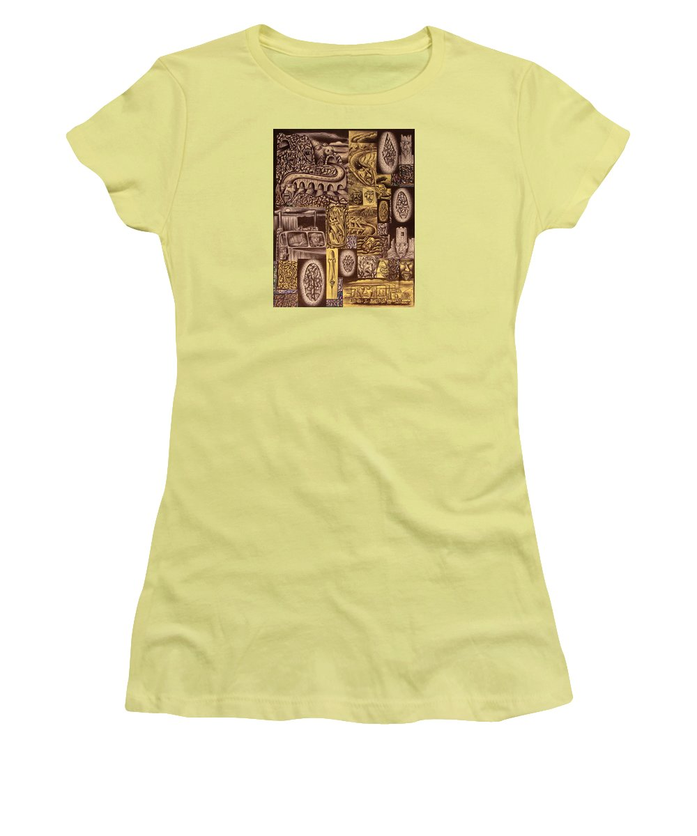 Pen Women's T-Shirt (Athletic Fit) featuring the drawing He Always Travels Alone by Stuart Swartz