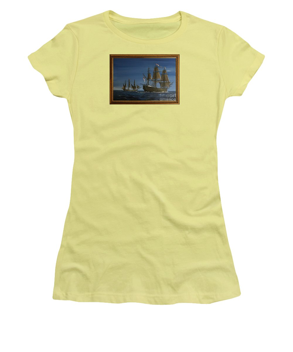 Battle Of Trafalgar Women's T-Shirt (Athletic Fit) featuring the painting Hms Victory Dawn by Richard John Holden RA