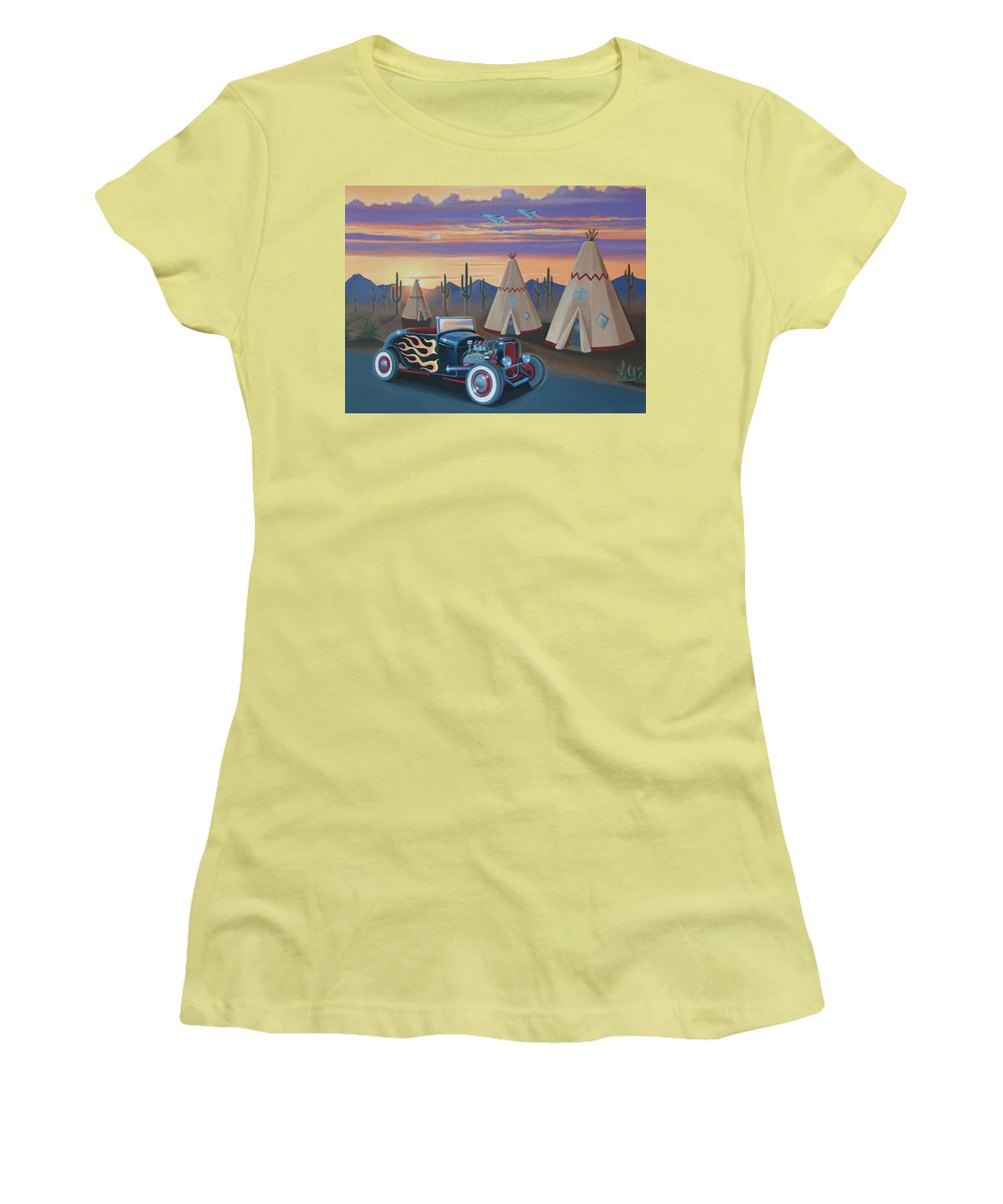 Hot Rod Women's T-Shirt (Athletic Fit) featuring the painting Hot Rod At The Wigwams by Stuart Swartz