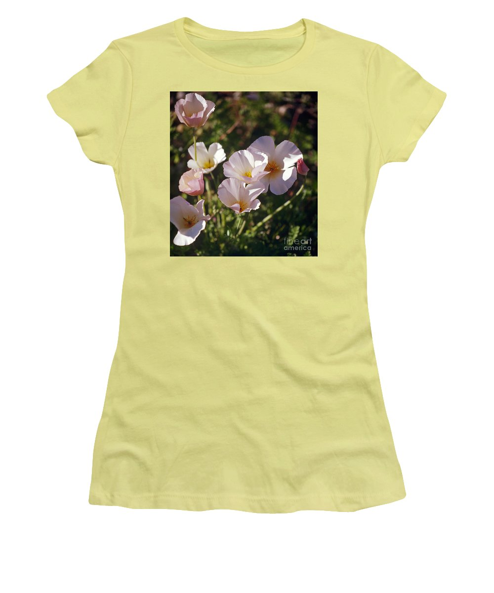 Flowers Women's T-Shirt (Athletic Fit) featuring the photograph Icelandic Poppies by Kathy McClure