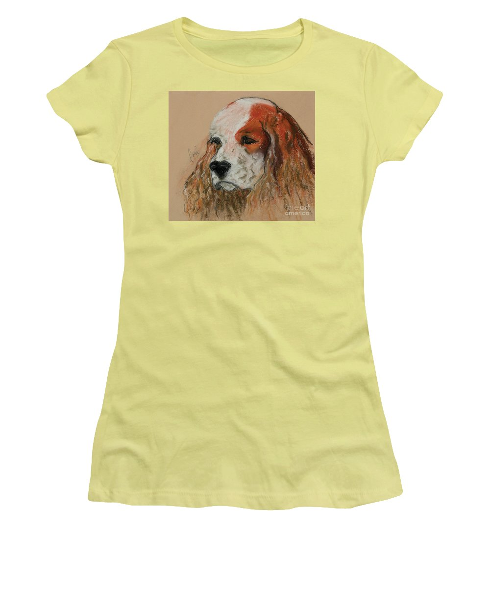 Dog Women's T-Shirt (Athletic Fit) featuring the pastel Idle Thoughts by Cori Solomon