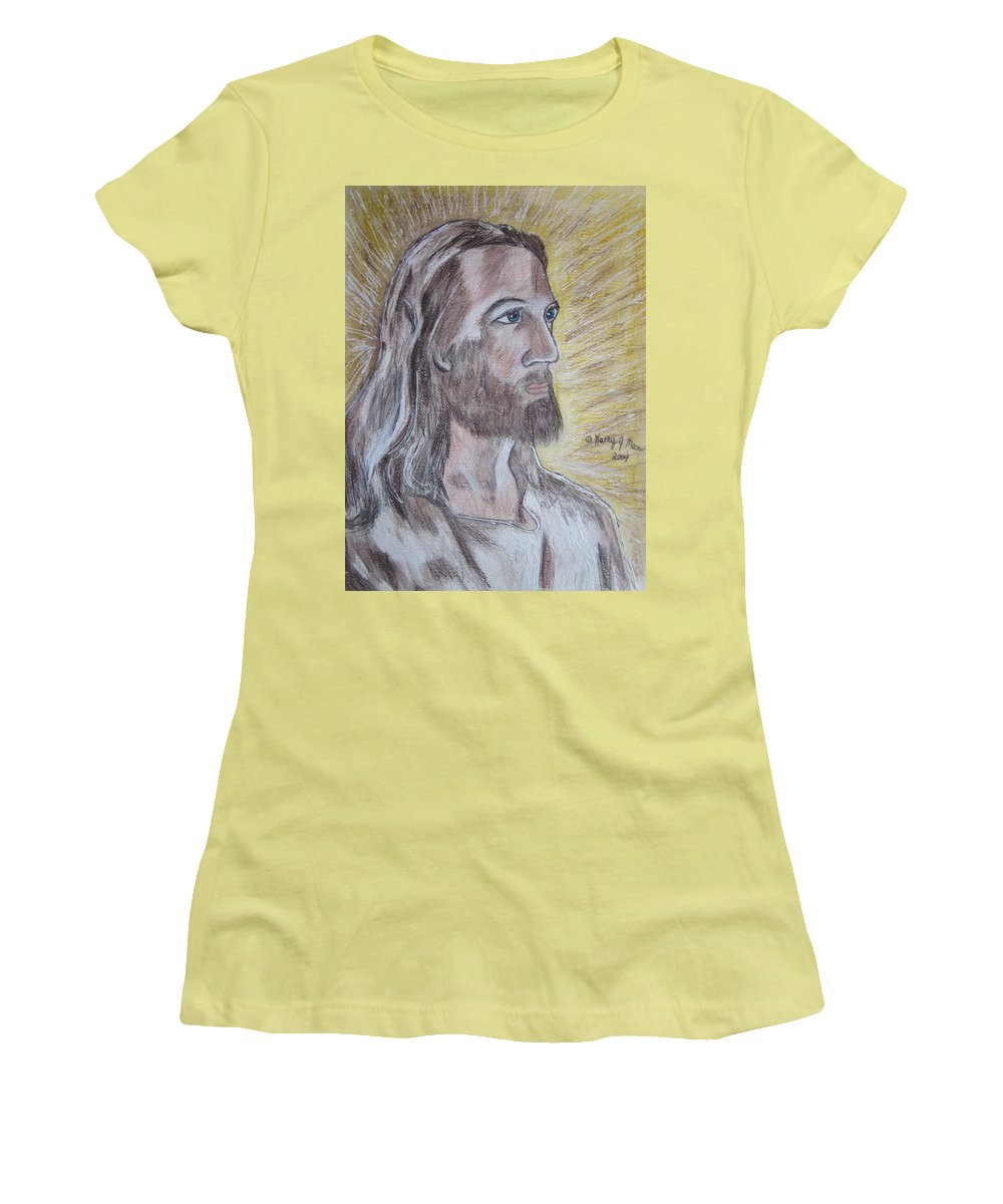 Jesus Women's T-Shirt (Athletic Fit) featuring the painting Jesus by Kathy Marrs Chandler