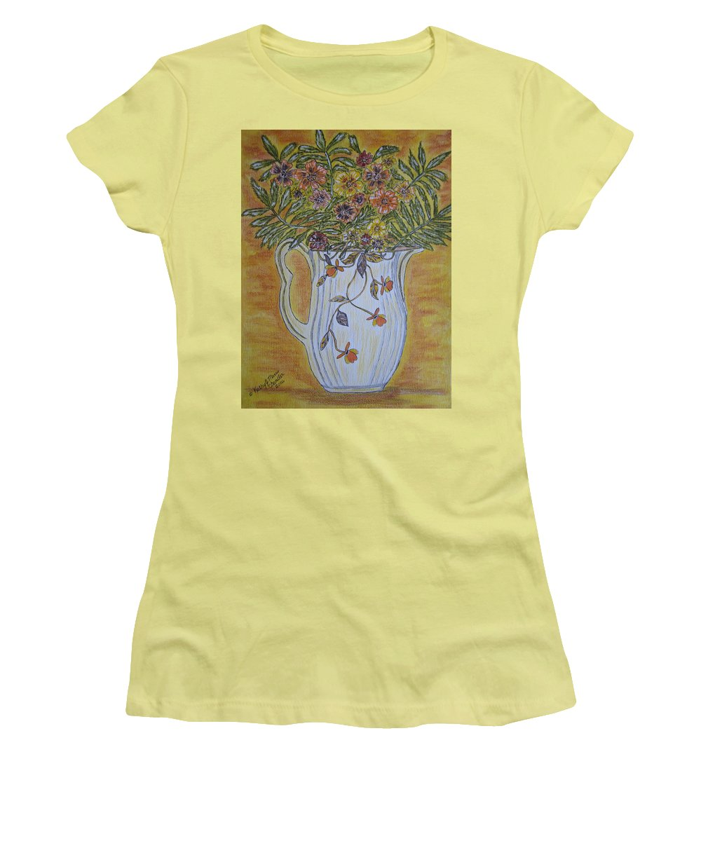 Jewel Tea Women's T-Shirt (Athletic Fit) featuring the painting Jewel Tea Pitcher With Marigolds by Kathy Marrs Chandler