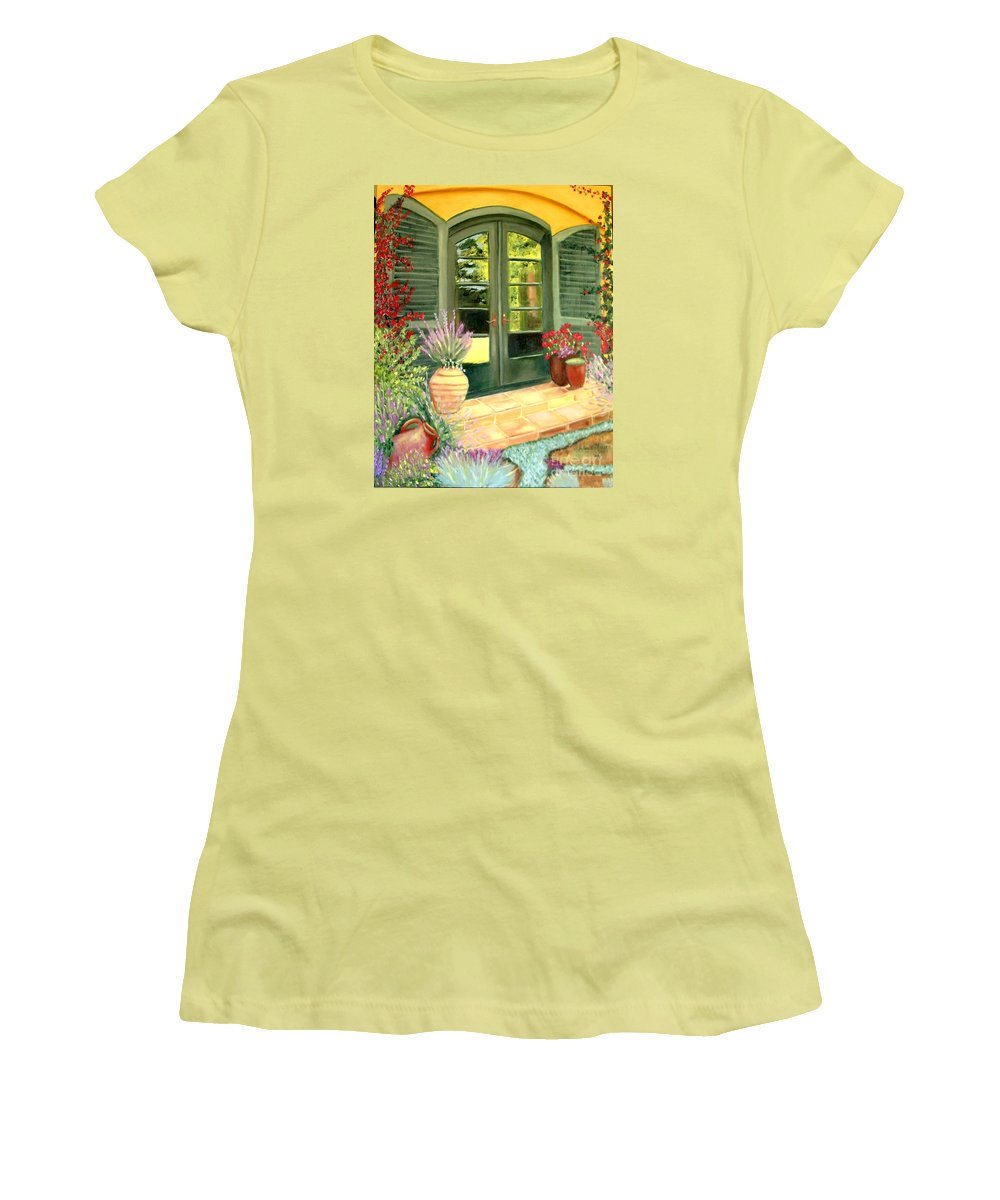 Shutters Women's T-Shirt (Athletic Fit) featuring the painting Jill's Patio by Laurie Morgan