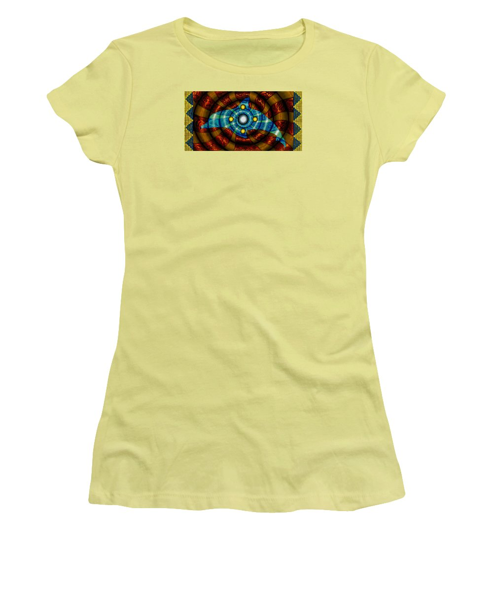 Dolphin Women's T-Shirt (Athletic Fit) featuring the painting Journey To The Center by Kevin Chasing Wolf Hutchins