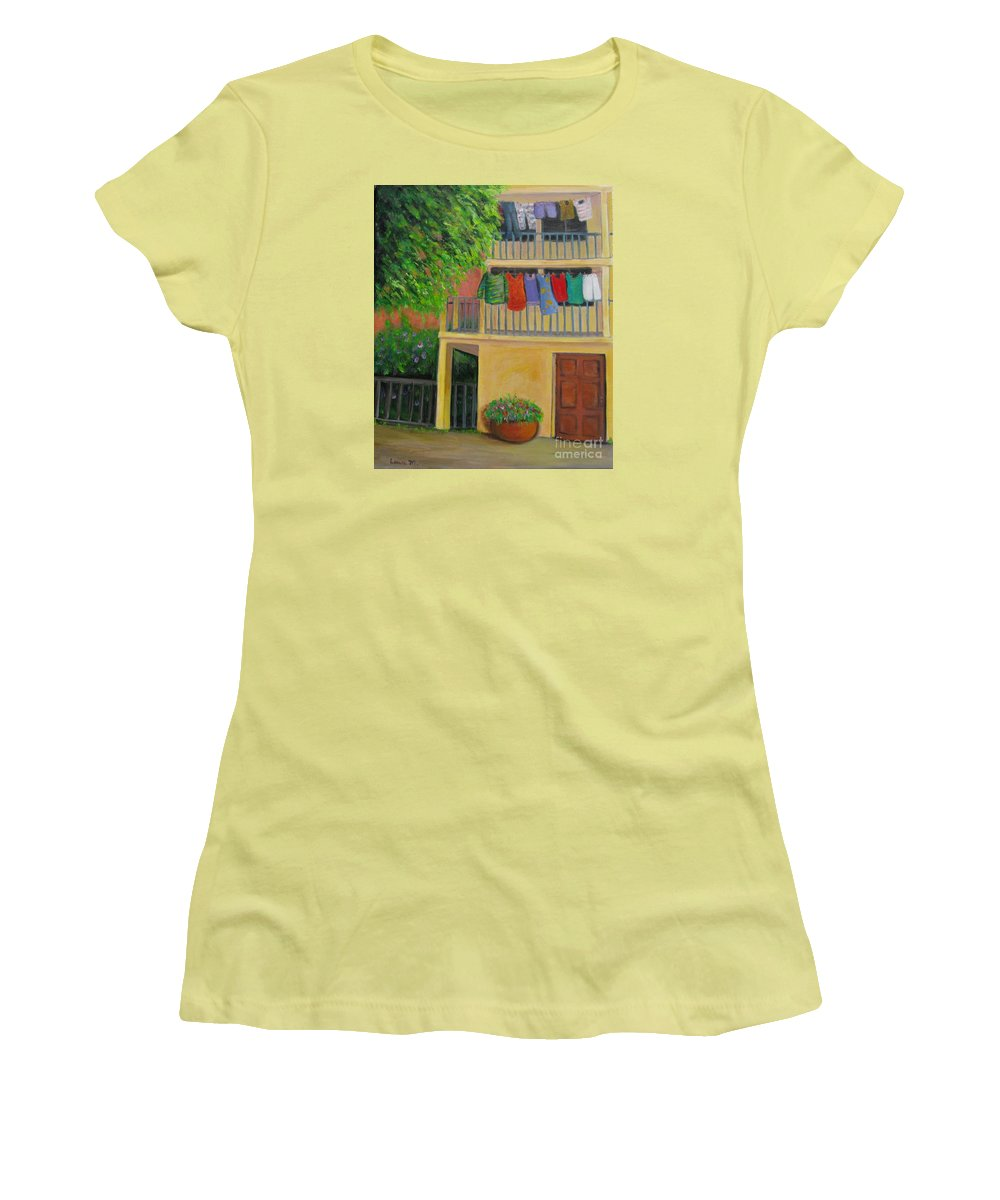 Laundry Women's T-Shirt (Athletic Fit) featuring the painting Laundry Day by Laurie Morgan