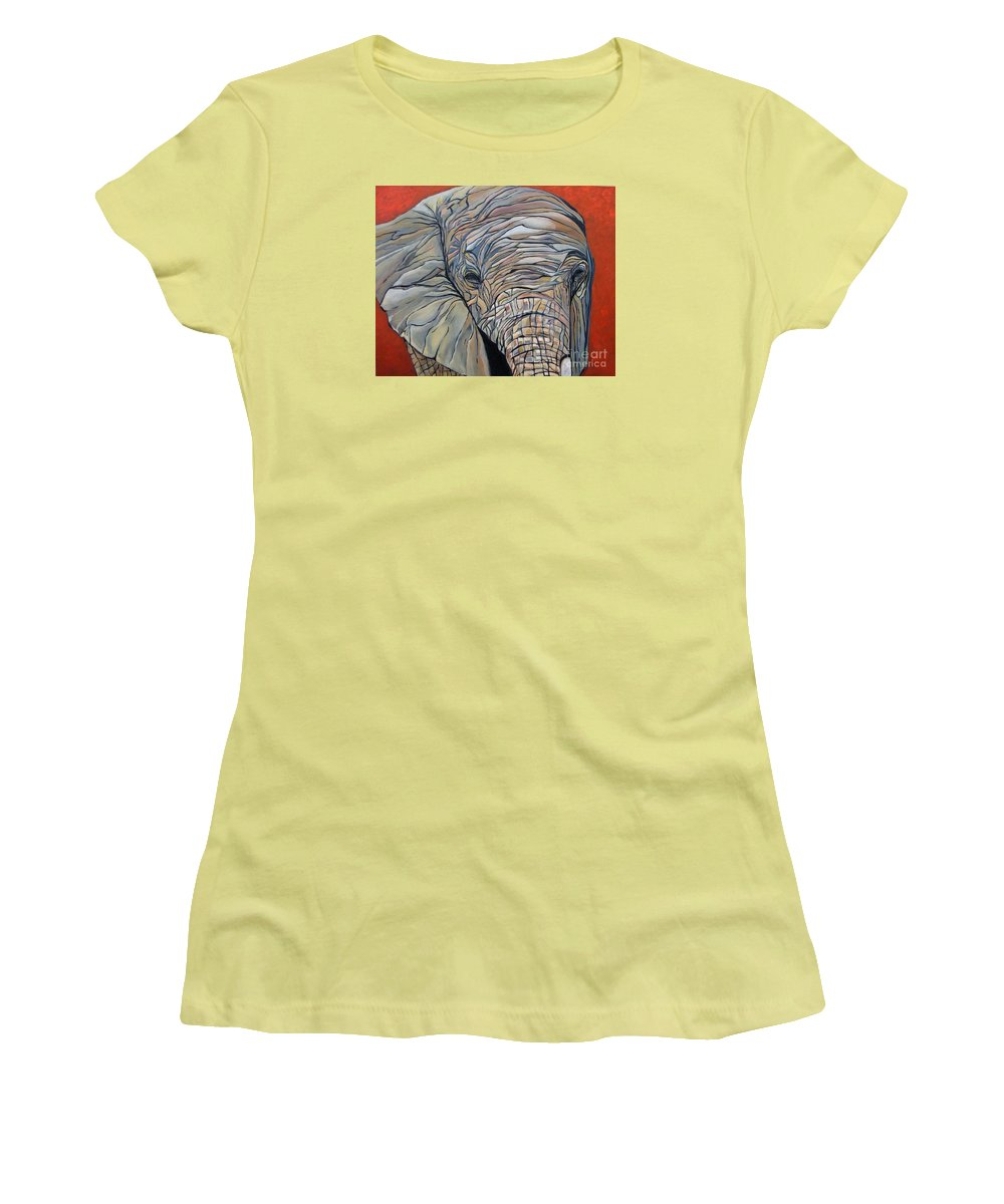 Elephant Women's T-Shirt (Athletic Fit) featuring the painting Lazy Boy by Aimee Vance