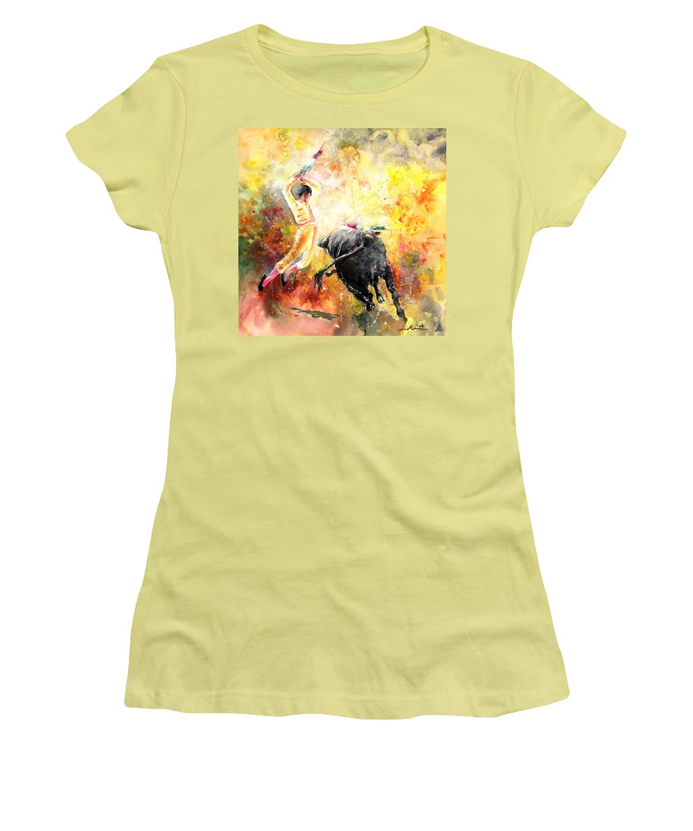 Animals Women's T-Shirt (Athletic Fit) featuring the painting Lightning Strikes by Miki De Goodaboom