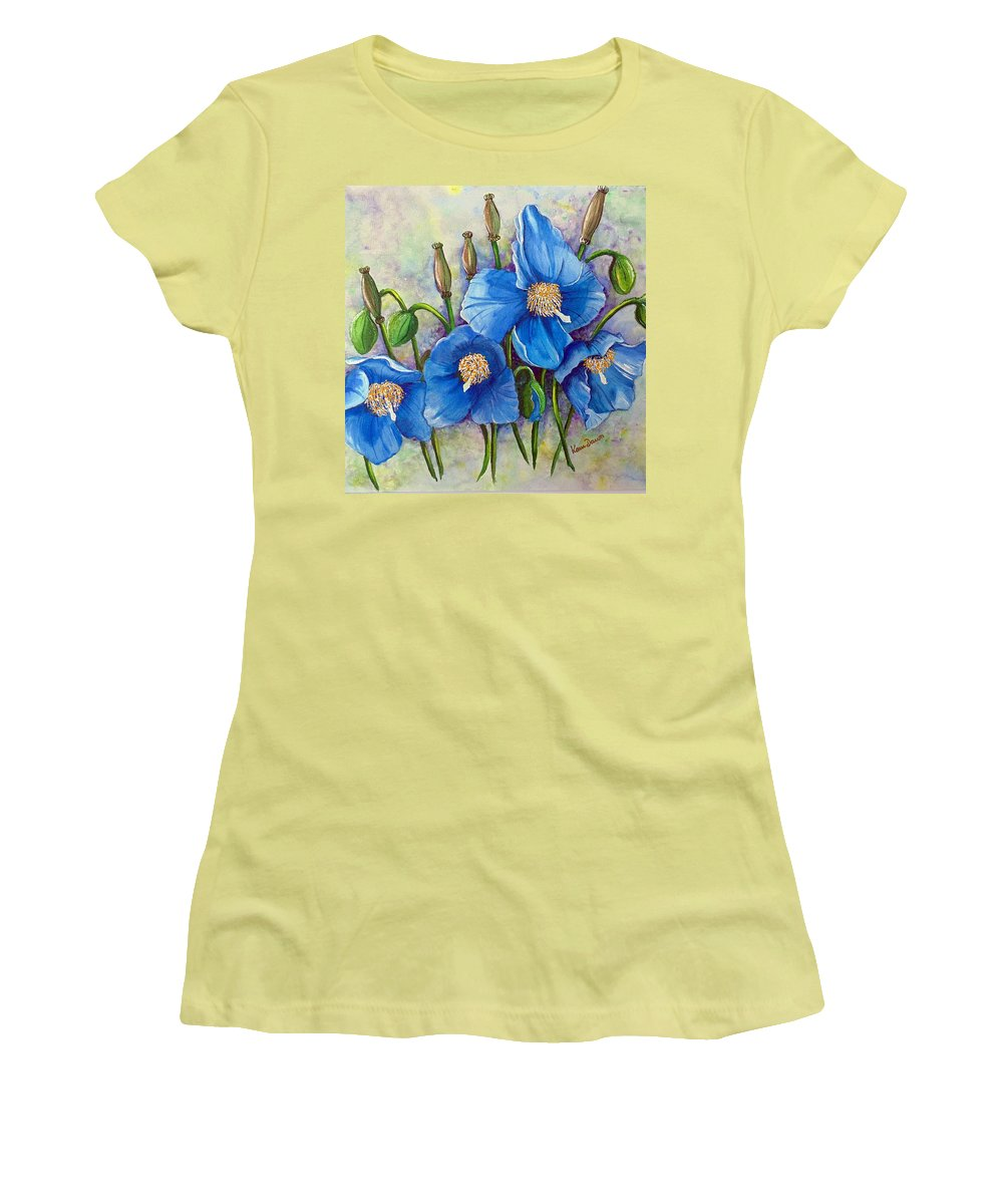 Blue Hymalayan Poppy Women's T-Shirt (Athletic Fit) featuring the painting Meconopsis  Himalayan Blue Poppy by Karin Dawn Kelshall- Best