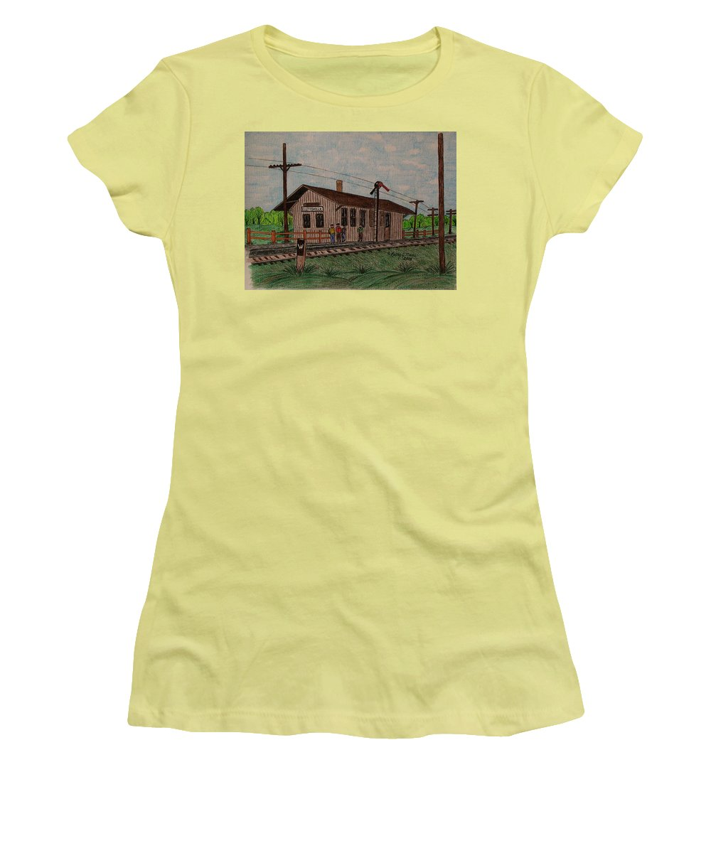 Monon Women's T-Shirt (Athletic Fit) featuring the painting Monon Ellettsville Indiana Train Depot by Kathy Marrs Chandler