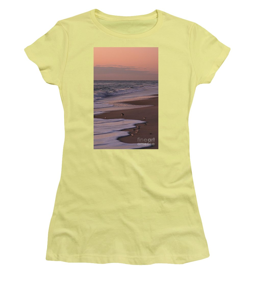 Beach Women's T-Shirt (Athletic Fit) featuring the photograph Morning Birds At The Beach by Nadine Rippelmeyer
