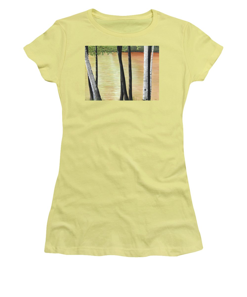 Landscape Women's T-Shirt (Athletic Fit) featuring the painting Muskoka Lagoon by Kenneth M Kirsch