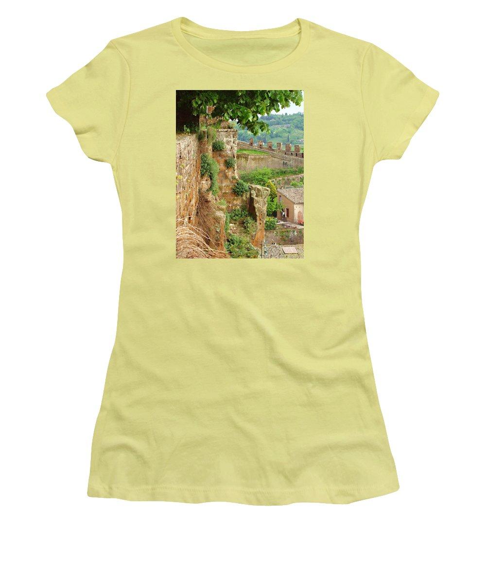 Orvieto Battlement Women's T-Shirt (Athletic Fit) featuring the photograph Orvieto Battlement by Ellen Henneke