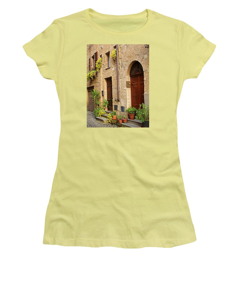 Orvieto Homes Women's T-Shirt (Athletic Fit) featuring the photograph Orvieto Homes by Ellen Henneke