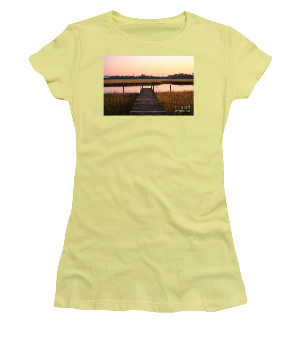 Pink Women's T-Shirt (Athletic Fit) featuring the photograph Pink And Orange Morning On The Marsh by Nadine Rippelmeyer
