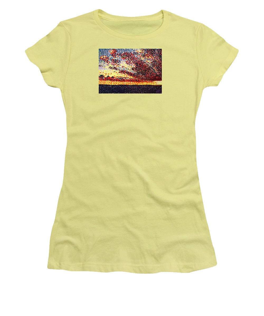 Plum Clouds Women's T-Shirt (Athletic Fit) featuring the painting Plum Clouds by Alan Hogan