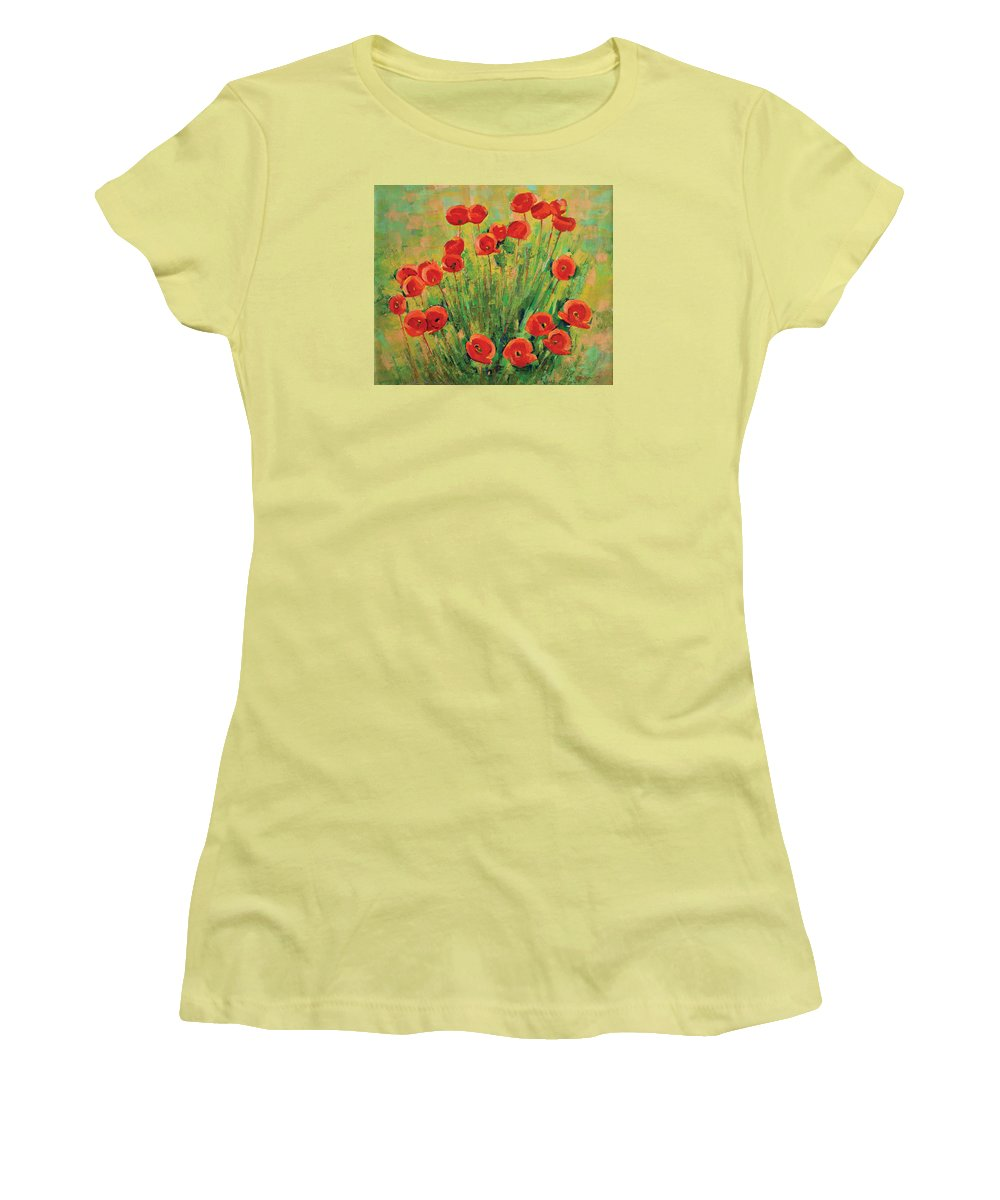 Poppies Women's T-Shirt (Athletic Fit) featuring the painting Poppies by Iliyan Bozhanov