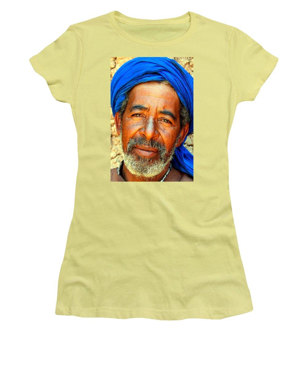 Berber Man Women's T-Shirt (Athletic Fit) featuring the photograph Portrait Of A Berber Man by Ralph A Ledergerber-Photography