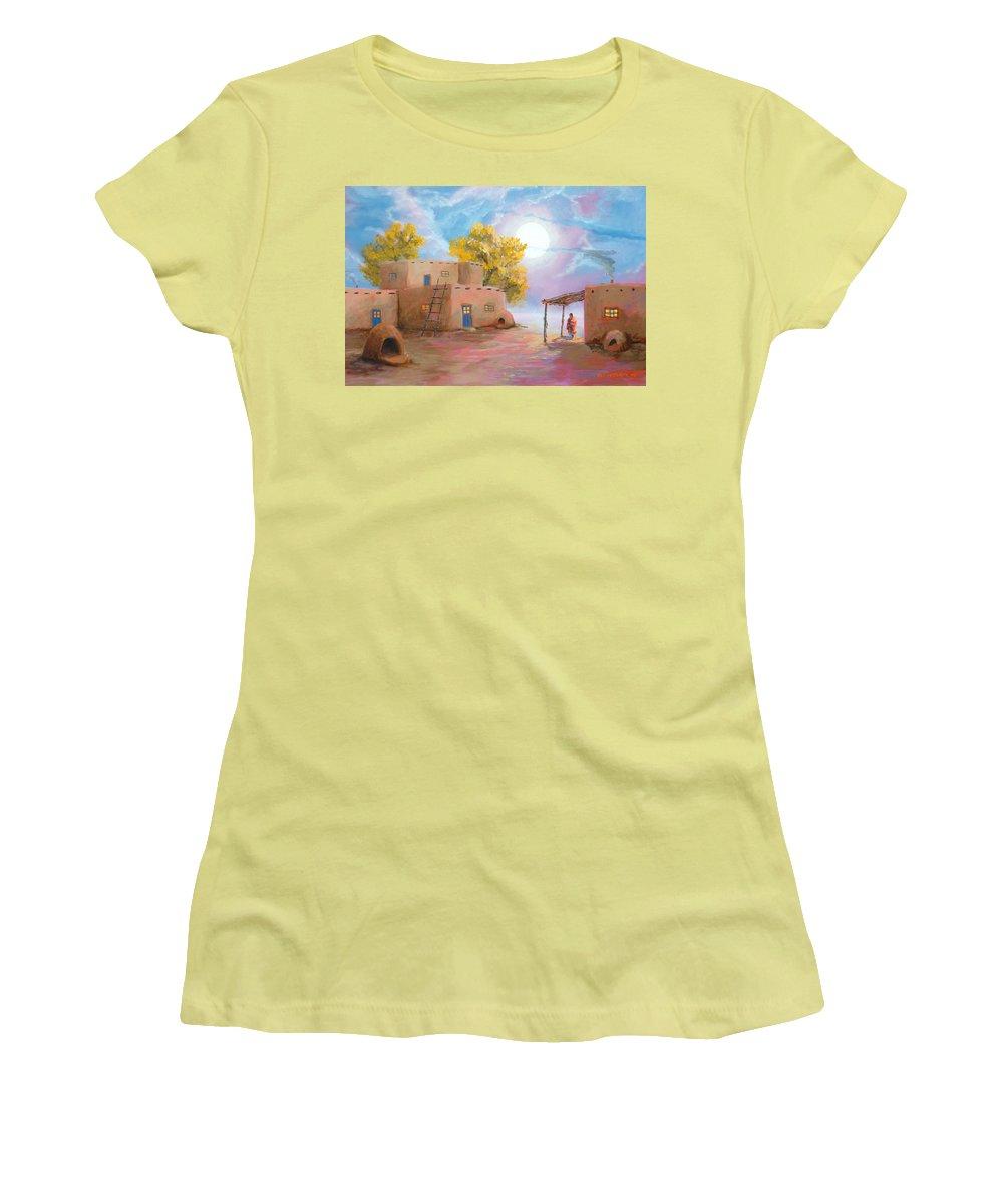Pueblo Women's T-Shirt (Athletic Fit) featuring the painting Pueblo De Las Lunas by Jerry McElroy