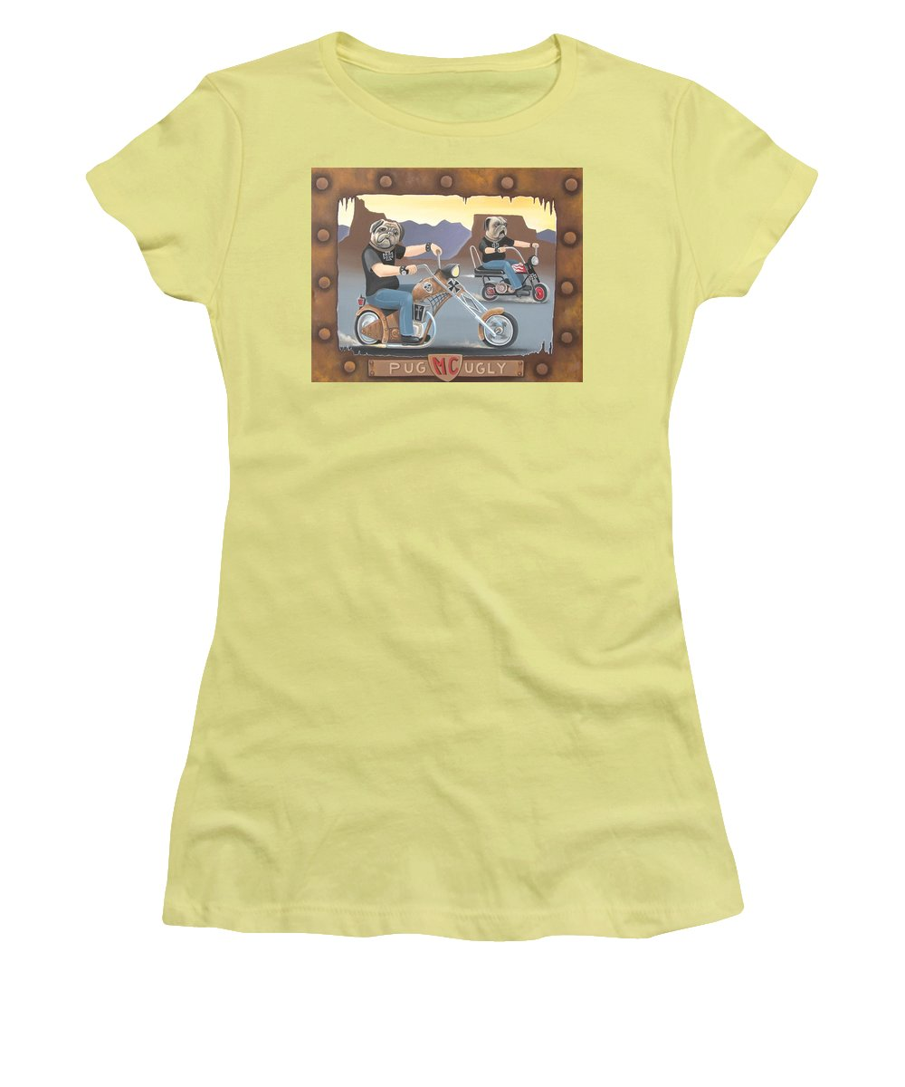 Pug Women's T-Shirt (Athletic Fit) featuring the painting Pug Ugly M.c. by Stuart Swartz