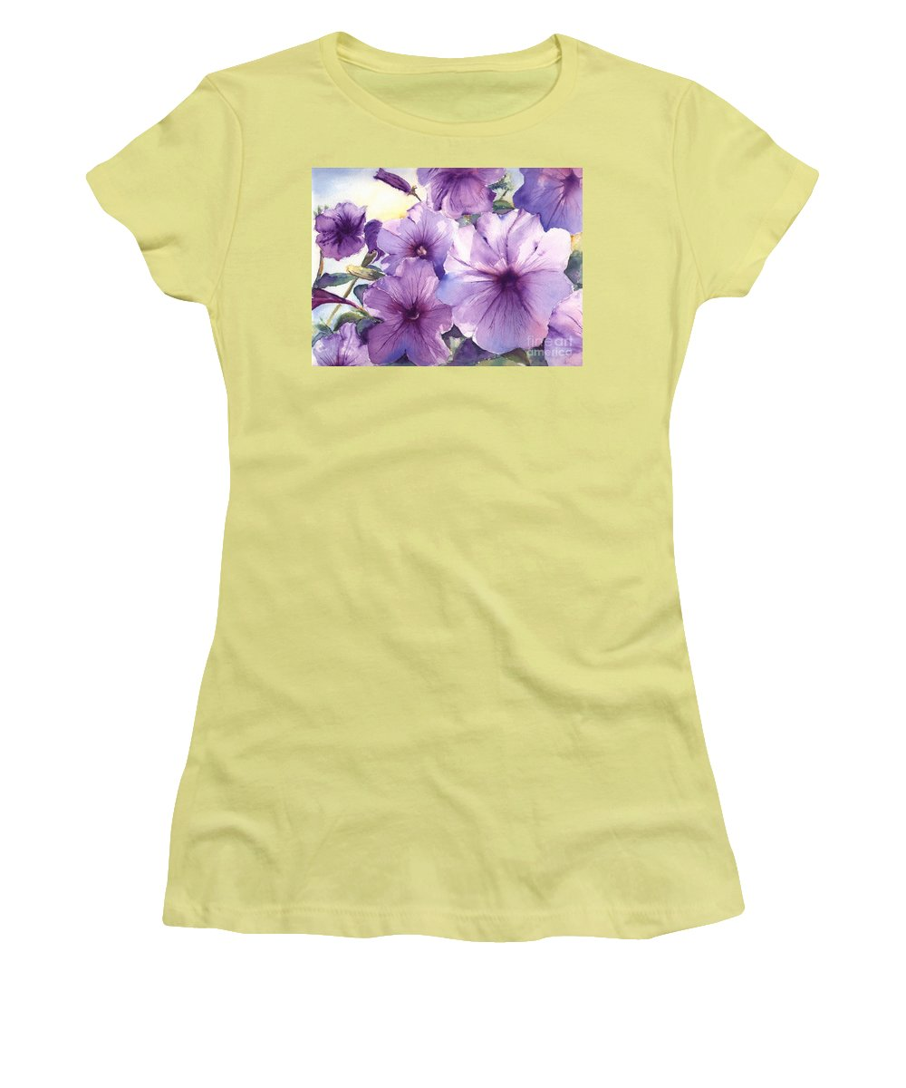 Purple Women's T-Shirt (Athletic Fit) featuring the painting Purple Profusion by Patricia Henderson
