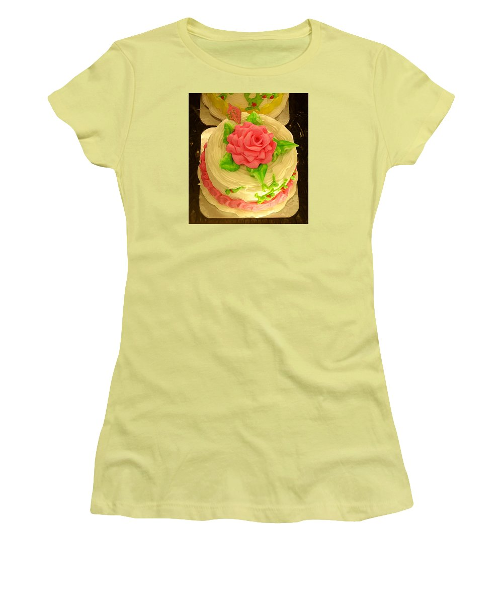 Food Women's T-Shirt (Athletic Fit) featuring the painting Rose Cakes by Amy Vangsgard