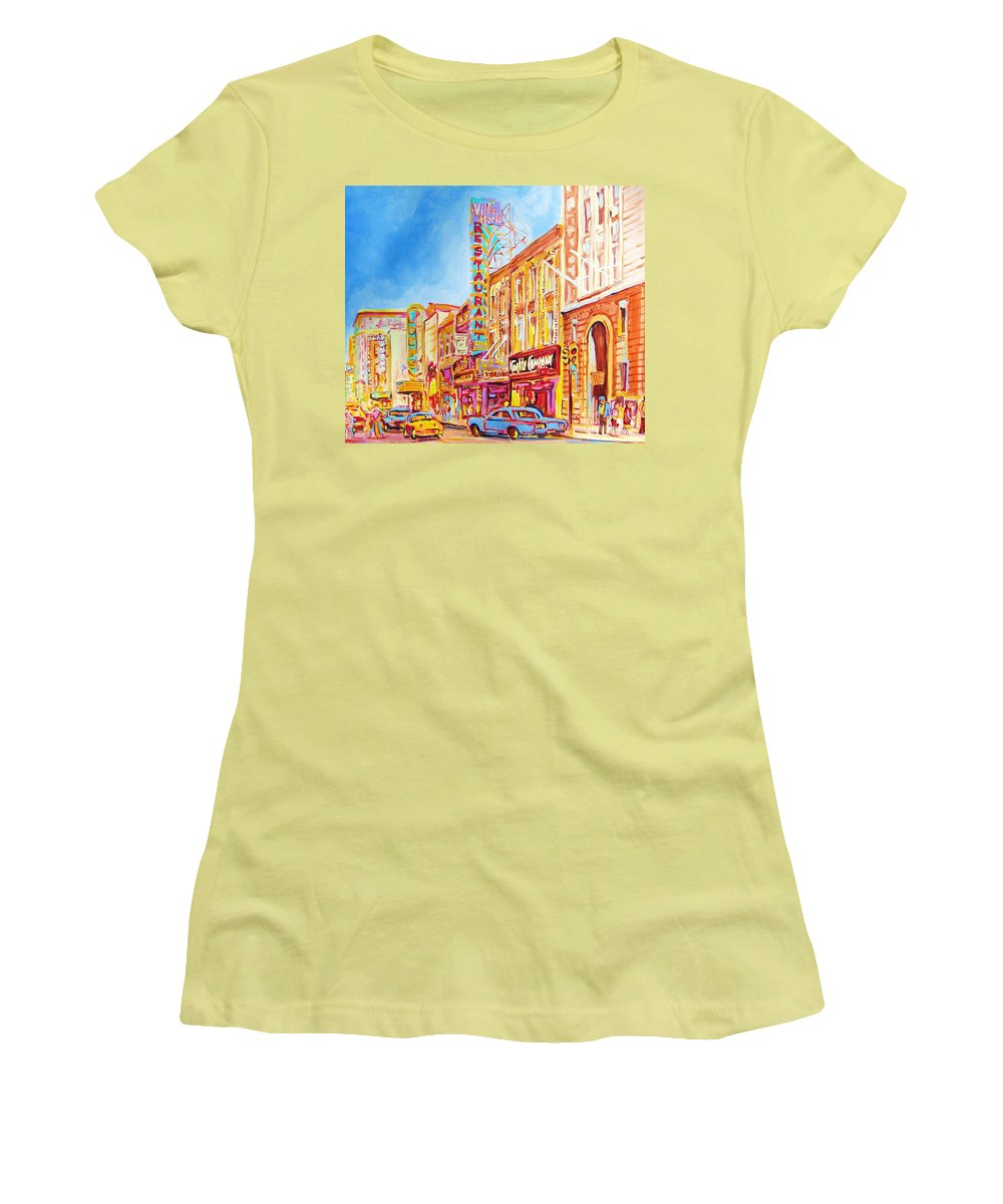 Paintings Of Montreal Women's T-Shirt (Athletic Fit) featuring the painting Saint Catherine Street Montreal by Carole Spandau