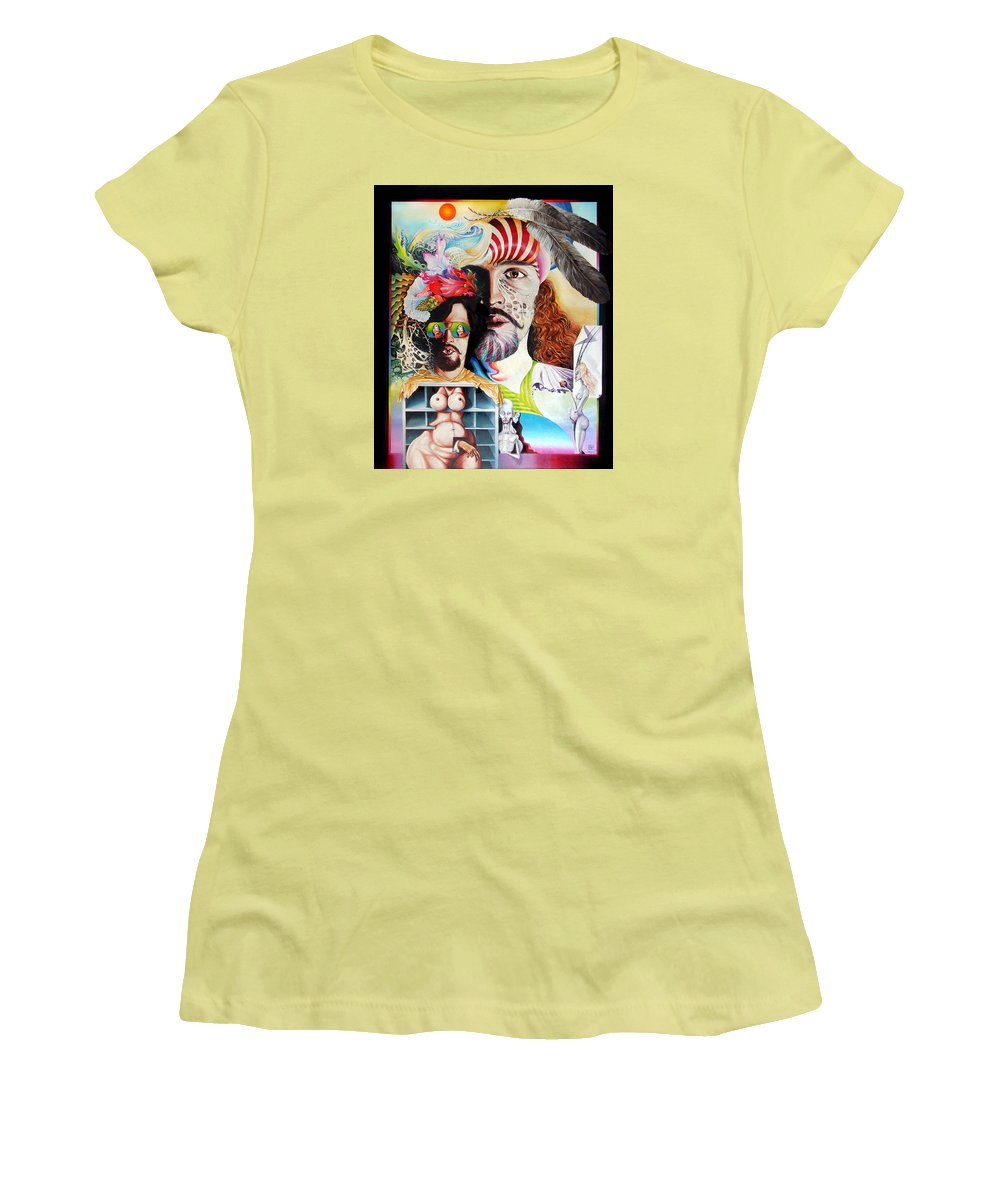 Surrealism Women's T-Shirt (Athletic Fit) featuring the painting Selfportrait With The Critical Eye by Otto Rapp