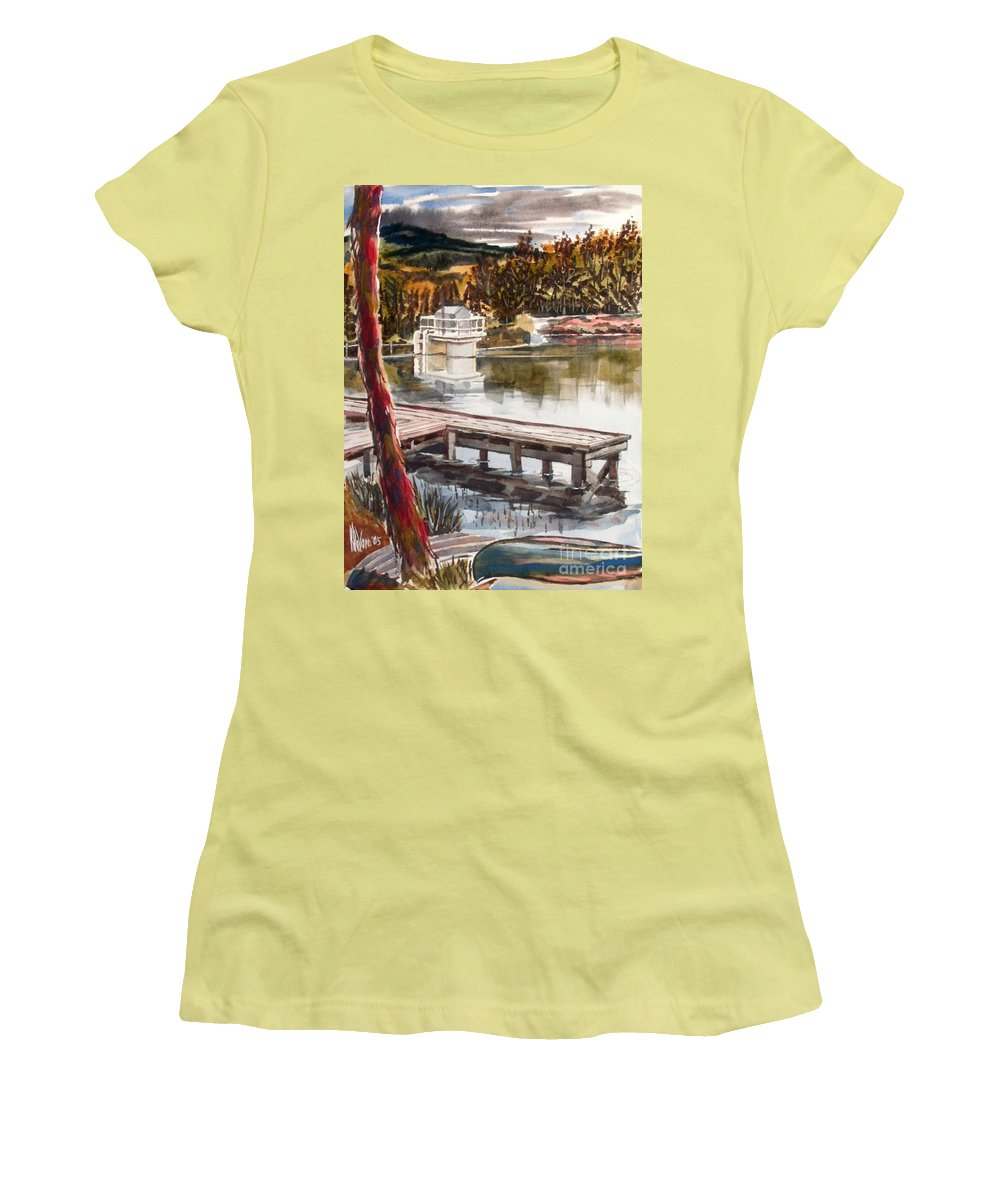 Shepherd Mountain Lake In Twilight Women's T-Shirt (Athletic Fit) featuring the painting Shepherd Mountain Lake In Twilight by Kip DeVore