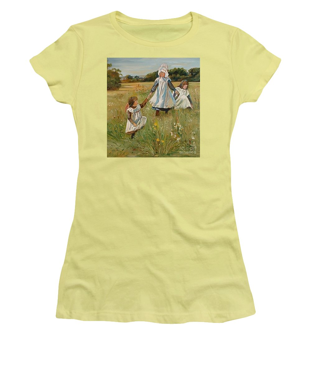 Classic Art Women's T-Shirt (Athletic Fit) featuring the painting Sisters by Silvana Abel