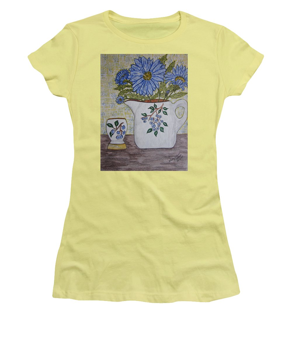 Stangl Blueberry Pottery Women's T-Shirt (Athletic Fit) featuring the painting Stangl Blueberry Pottery by Kathy Marrs Chandler