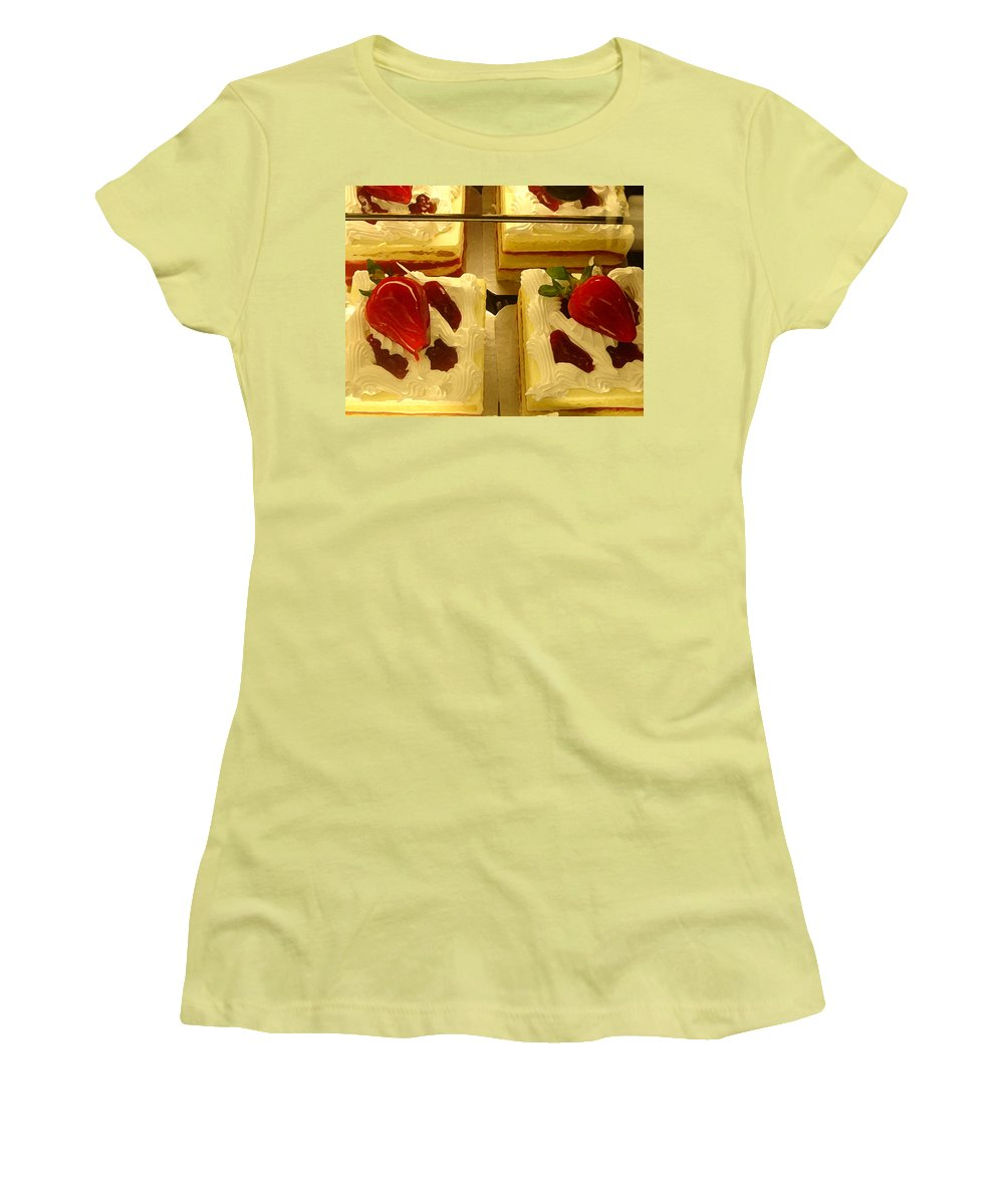 Kitchen Women's T-Shirt (Athletic Fit) featuring the painting Strawberry Cakes by Amy Vangsgard