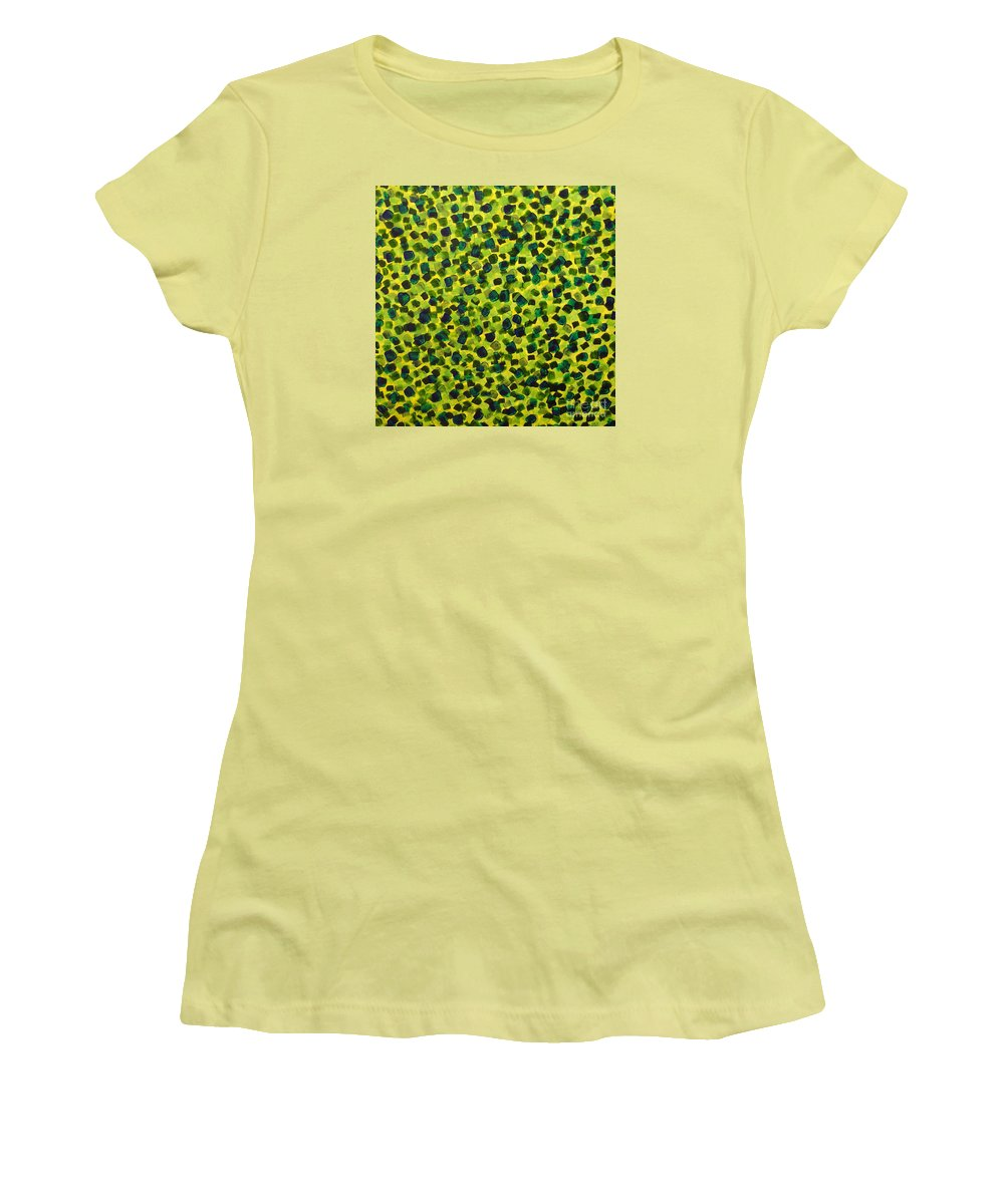 Abstract Women's T-Shirt (Athletic Fit) featuring the painting Sunlight Through The Trees 2 by Dean Triolo