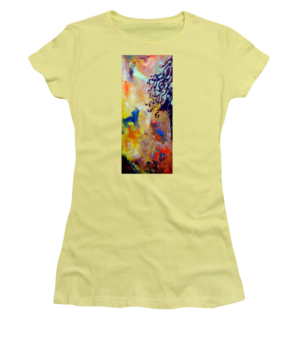 Abstract Women's T-Shirt (Athletic Fit) featuring the painting Summer Heat by Beverly Koski