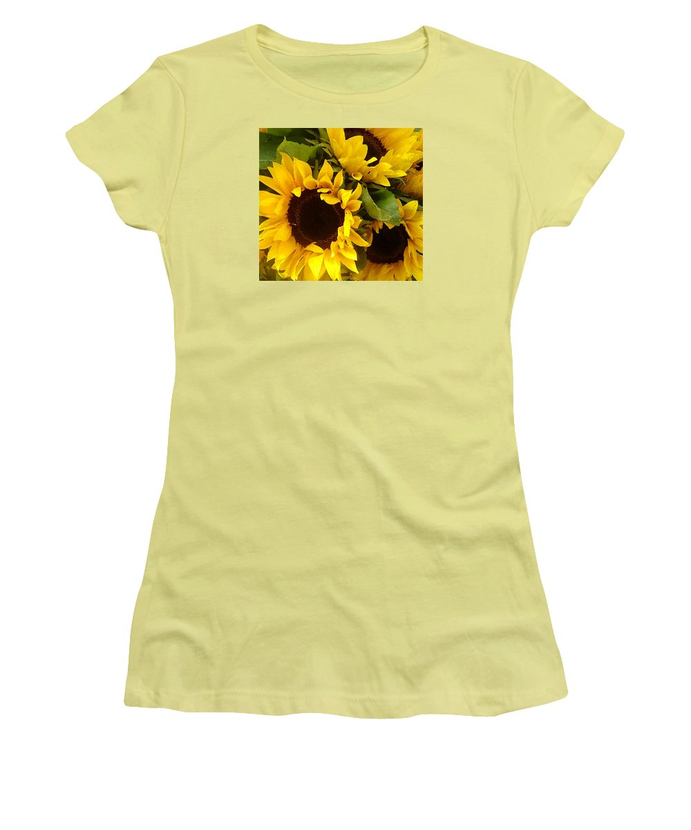 Sunflowers Women's T-Shirt (Athletic Fit) featuring the painting Sunflowers by Amy Vangsgard