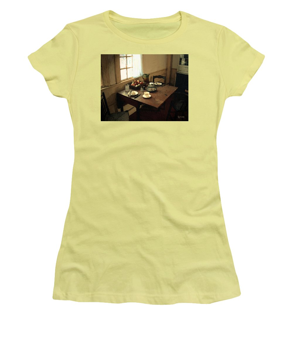 Still Life Women's T-Shirt (Athletic Fit) featuring the painting Sunlight On Dining Table by RC deWinter