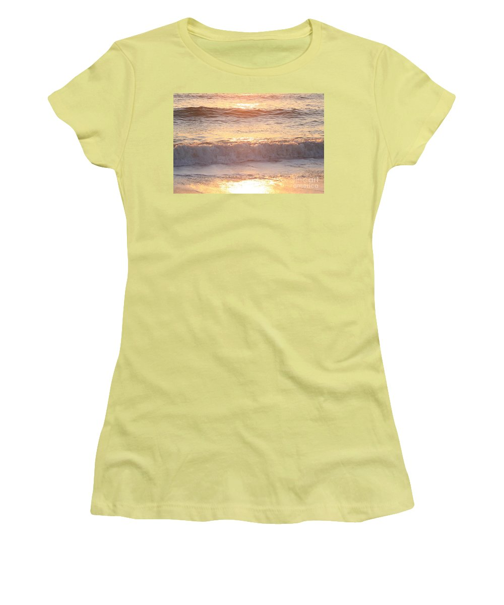 Waves Women's T-Shirt (Athletic Fit) featuring the photograph Sunrise Waves by Nadine Rippelmeyer