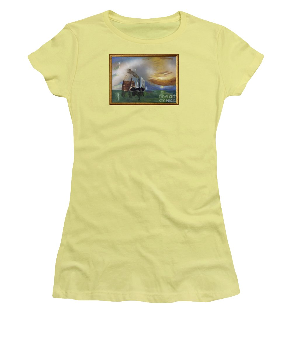 Battle Of Trafalgar Women's T-Shirt (Athletic Fit) featuring the painting The Fighting Temeraire 1837 by Richard John Holden RA
