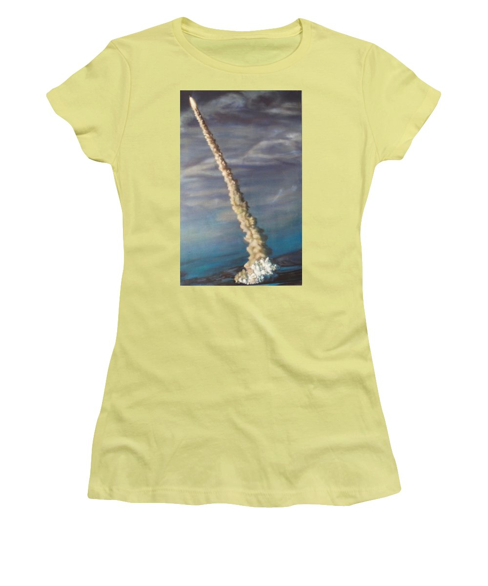 Rocket Women's T-Shirt (Athletic Fit) featuring the painting Throttle Up by Sean Connolly