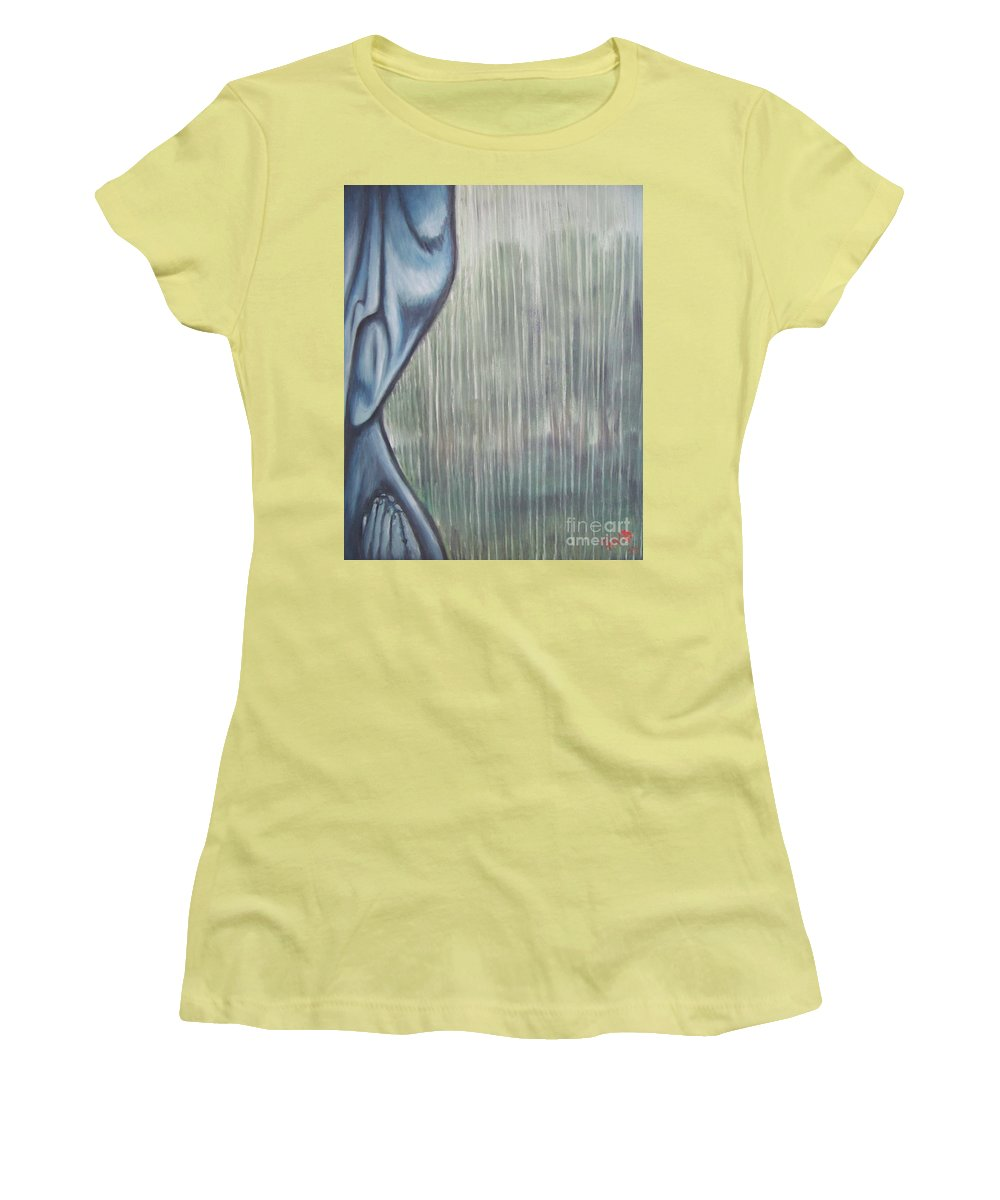 Tmad Women's T-Shirt (Athletic Fit) featuring the painting Tranquil Rain by Michael TMAD Finney