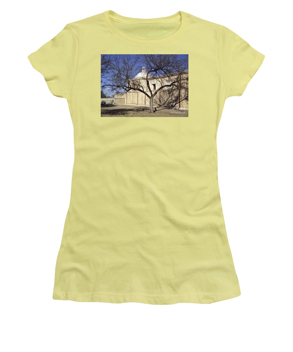 Mission Women's T-Shirt (Athletic Fit) featuring the photograph Tumacacori With Tree by Kathy McClure