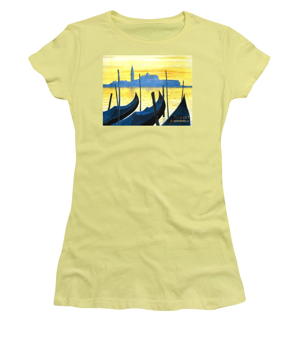 Venice Women's T-Shirt (Athletic Fit) featuring the painting Venezia Venice Italy by Jerome Stumphauzer