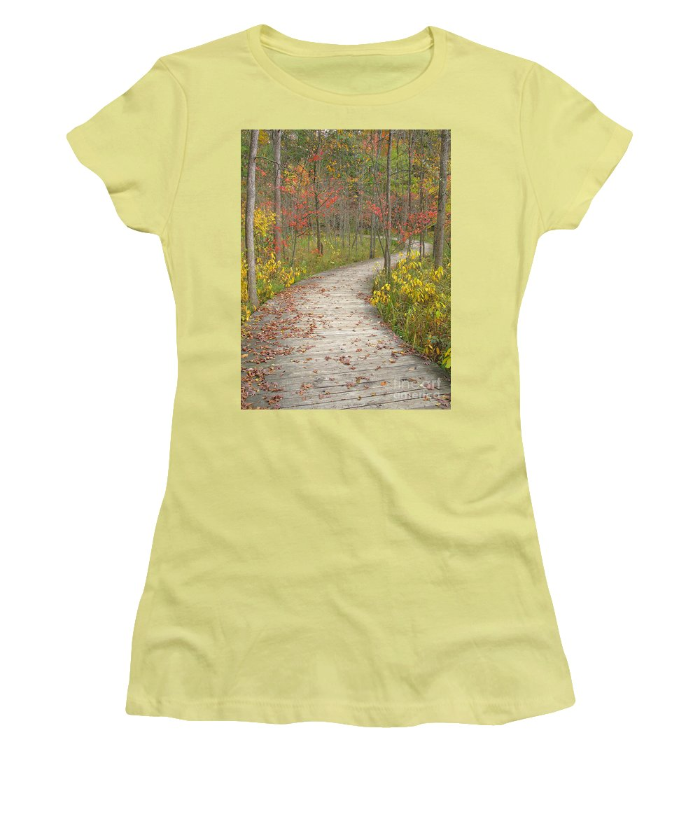 Autumn Women's T-Shirt (Athletic Fit) featuring the photograph Winding Woods Walk by Ann Horn
