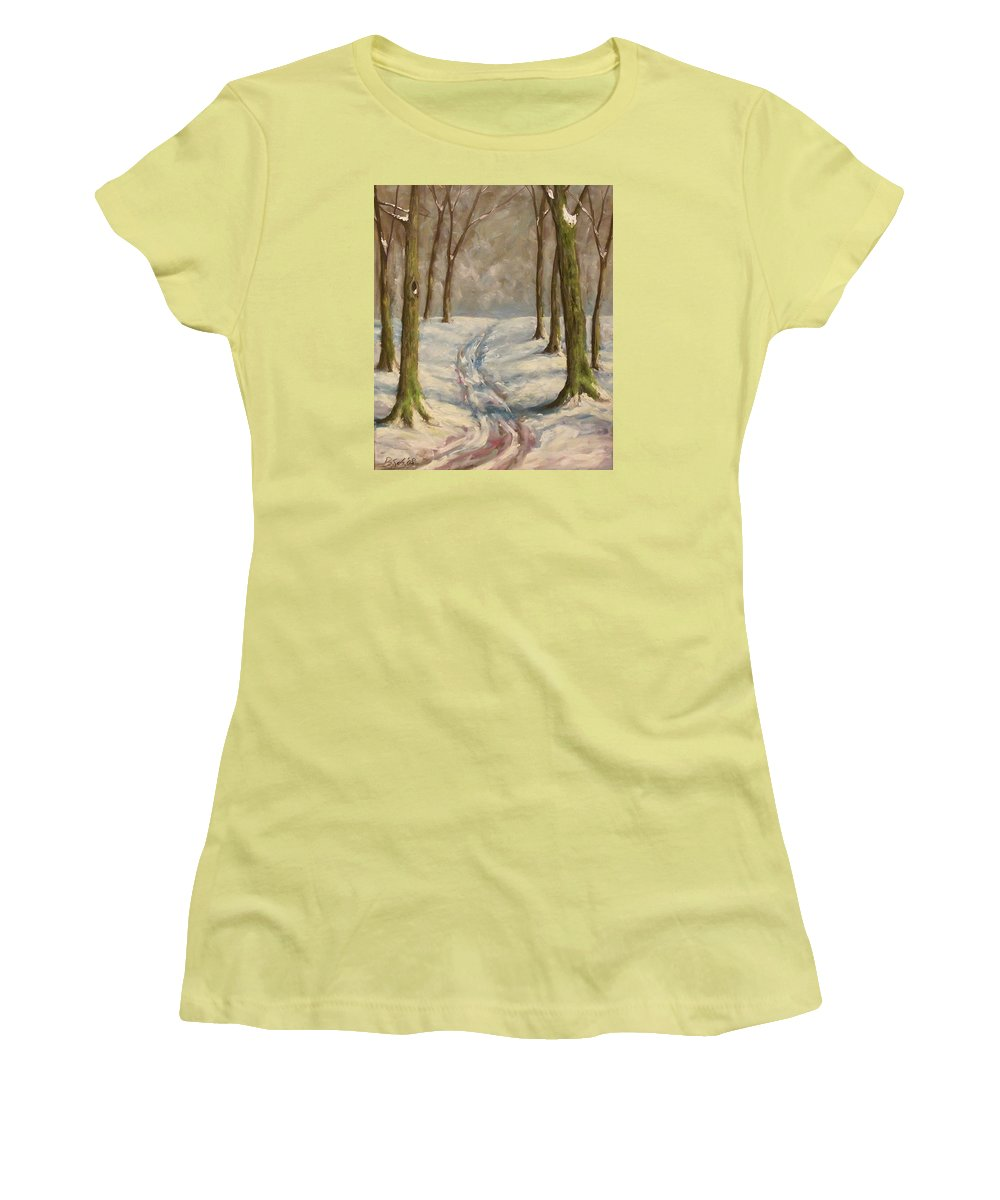Winter Women's T-Shirt (Athletic Fit) featuring the painting Winter Day by Birgit Schnapp