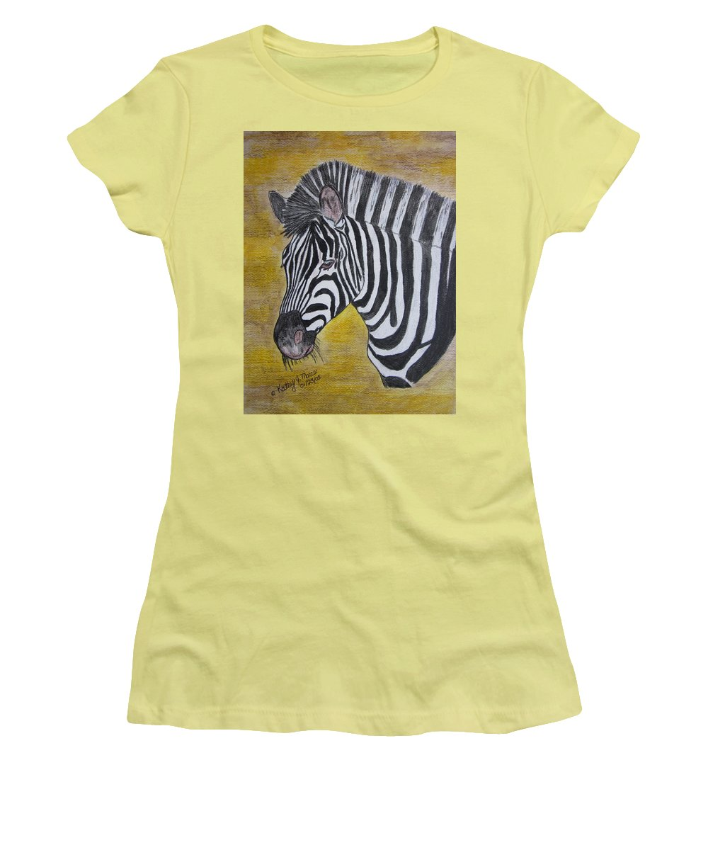 Zebra Women's T-Shirt (Athletic Fit) featuring the painting Zebra Portrait by Kathy Marrs Chandler