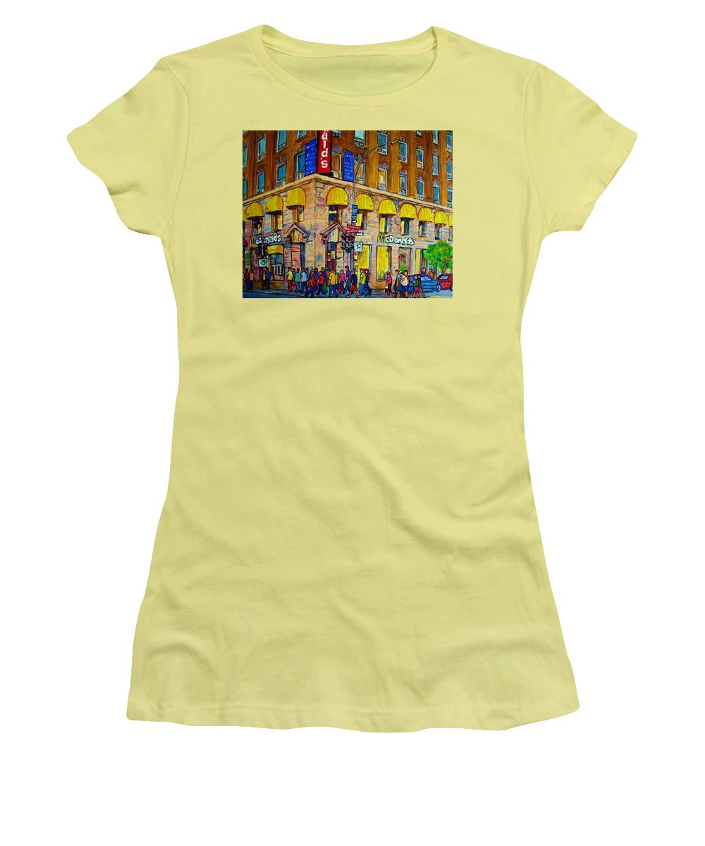 Mcdonald Restaurant Montreal Women's T-Shirt (Athletic Fit) featuring the painting Mcdonald by Carole Spandau