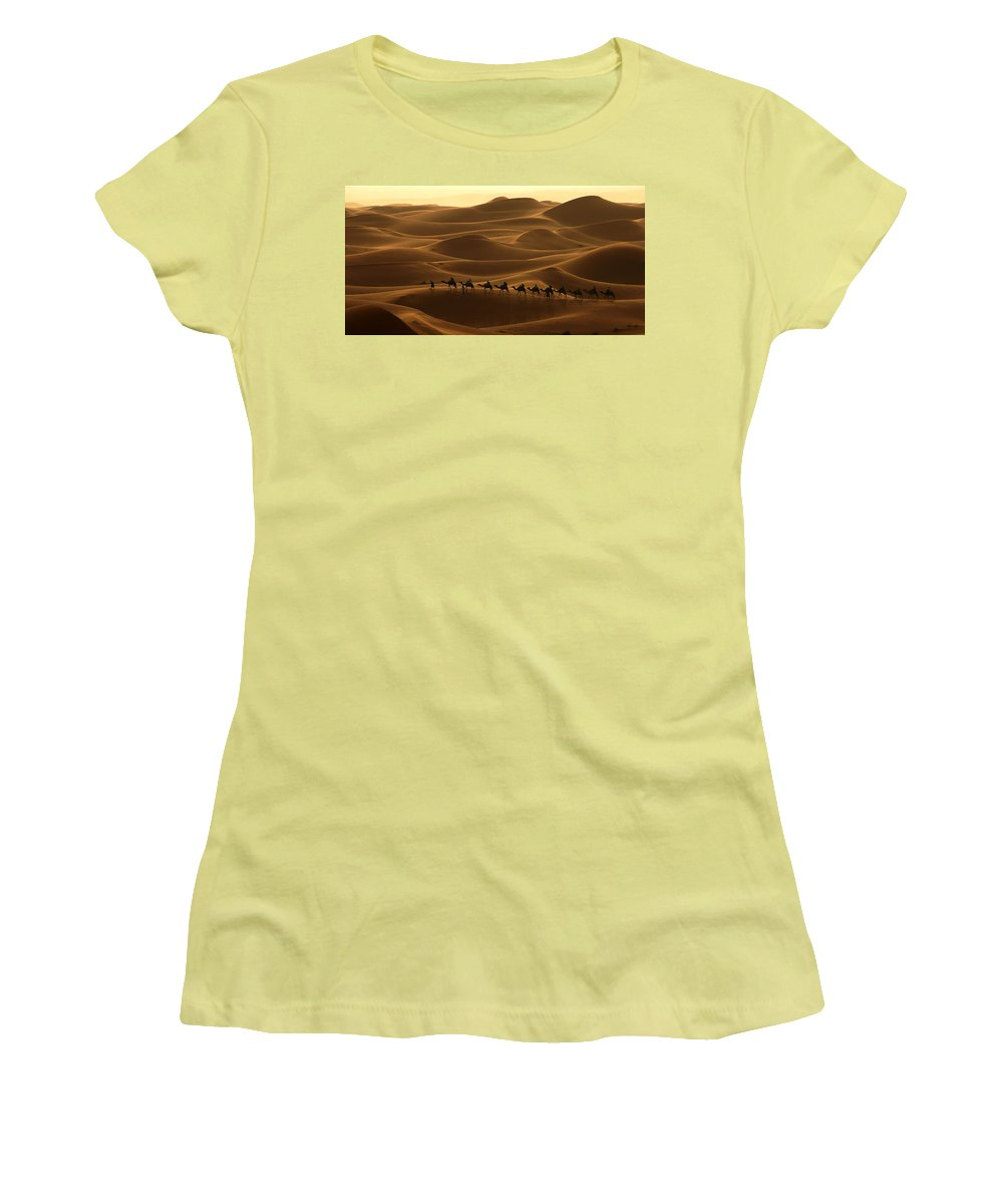 Camel Women's T-Shirt (Athletic Fit) featuring the photograph Camel Caravan In The Erg Chebbi Southern Morocco by Ralph A Ledergerber-Photography
