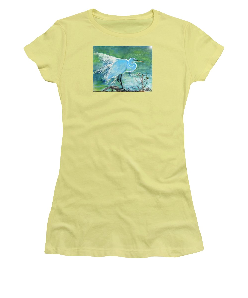 Egret Women's T-Shirt (Athletic Fit) featuring the painting Egret In The Summer Breeze by Dawn Johansen