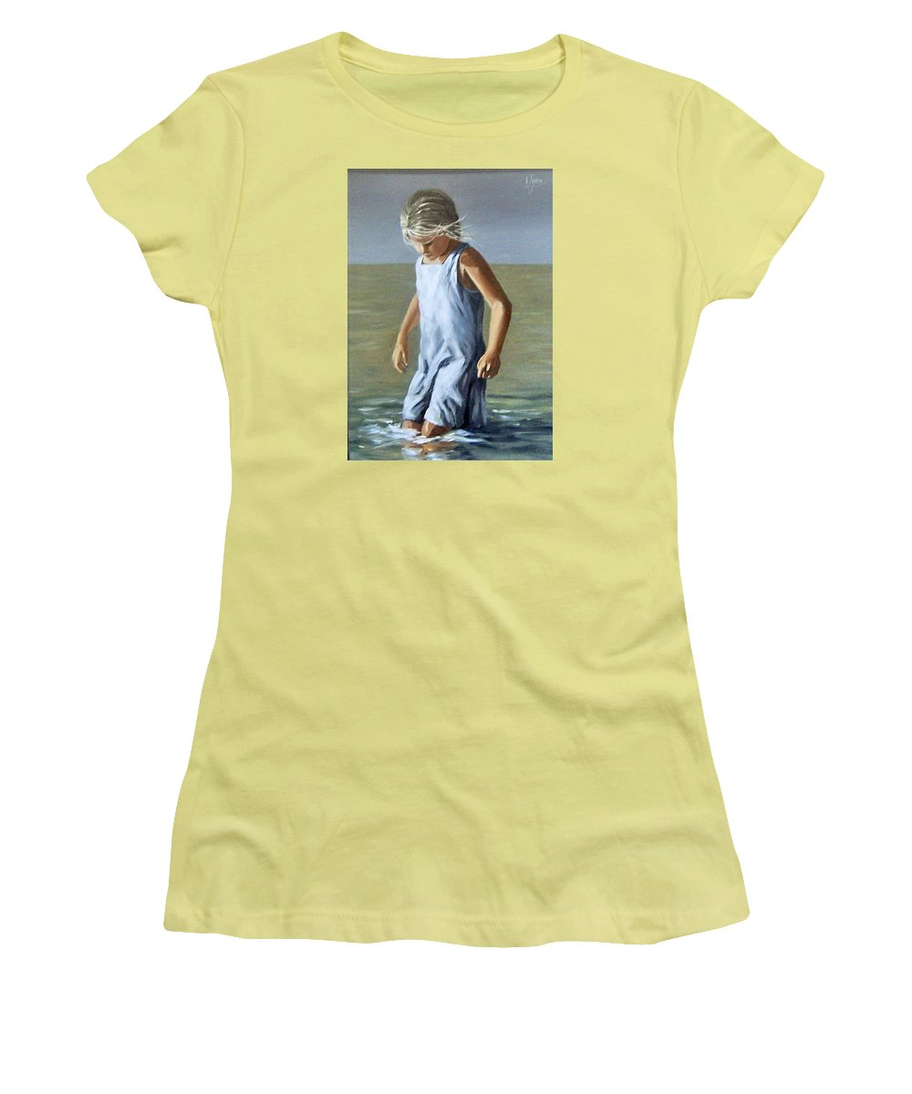 Girl Children Reflection Water Sea Figurative Portrait Women's T-Shirt (Athletic Fit) featuring the painting Girl by Natalia Tejera