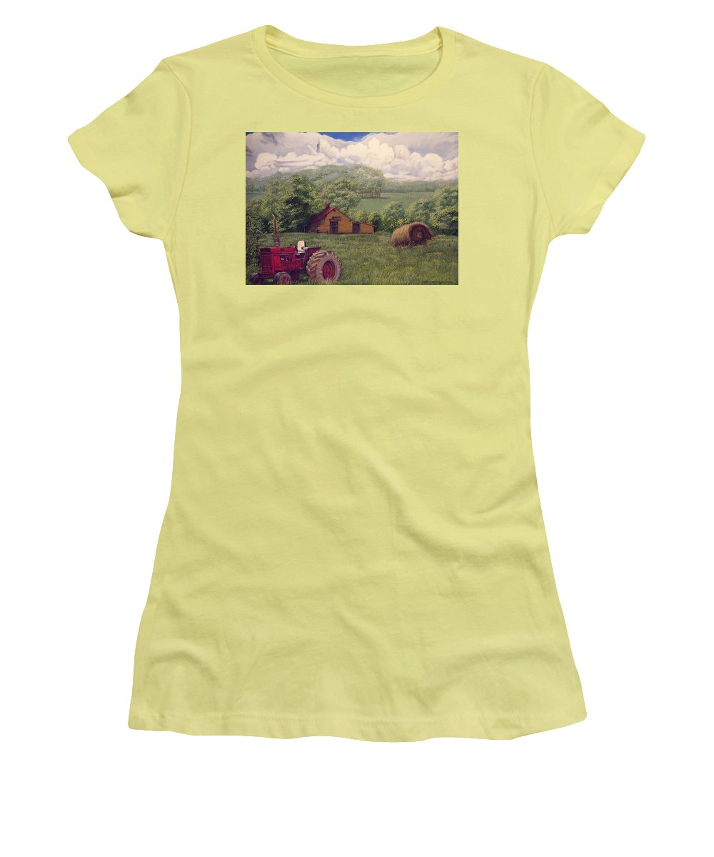 Landscape Women's T-Shirt (Athletic Fit) featuring the painting Idle In Godfrey Georgia by Peter Muzyka